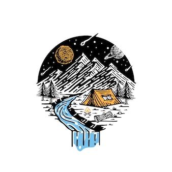 Acampar en las montañas en la ilustración de la noche con una vista del cielo de la galaxia.