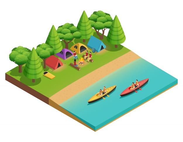 Acampar senderismo composición isométrica con carpa en el lago y turistas en barcos vector ilustración