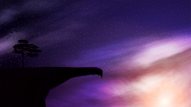 Un acantilado de montaña con un solo árbol que crece en él contra el fondo del cielo estrellado al atardecer.