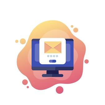 Acceso al correo, autenticación con contraseña, vector