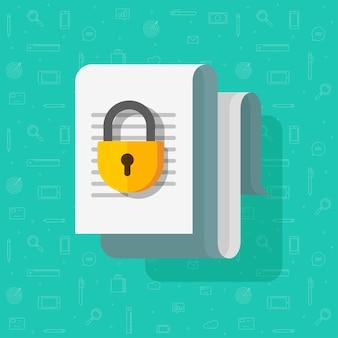 Acceso cerrado o bloqueado para el icono de dibujos animados planos del archivo de documento, concepto de permiso, documento de texto de información confidencial