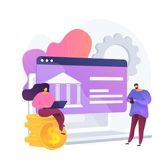 Acceso a datos bancarios abiertos. servicios financieros, desarrollo de aplicaciones de pago móvil, tecnología api. desarrolladores web que diseñan plataformas bancarias. ilustración de metáfora de concepto aislado de vector