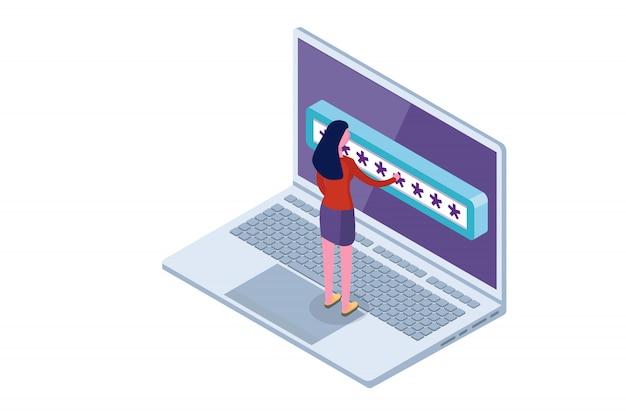 Acceso a datos, concepto isométrico de contraseña. formulario de inicio de sesión en pantalla. ilustración.