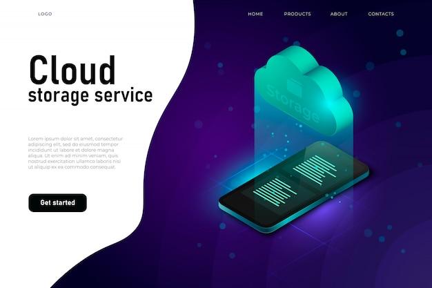 Acceso a datos en la nube, sistema de almacenamiento en la nube, concepto de ilustración isométrica con nube isométrica y teléfono inteligente realista