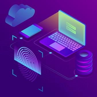 Acceso a datos de red con concepto de autorización biométrica. isometrico 3d