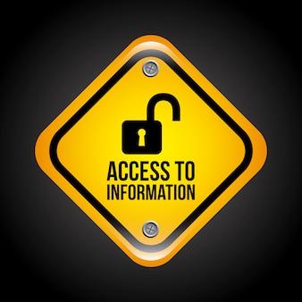Acceso a la información sobre fondo negro ilustración vectorial