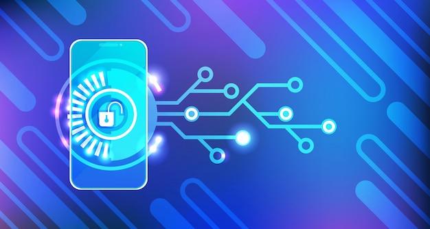 Acceso móvil que carga la identificación y la protección del concepto de la seguridad de smartphone app