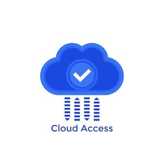Acceso a la nube, icono de vector de alojamiento