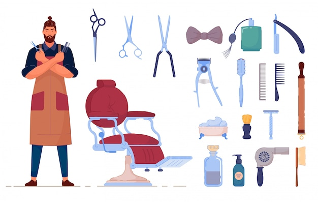 Accesorio de peluquero. accesorio de peluquería de vector y conjunto aislado de suministro. carácter de peluquero hombre en uniforme, silla, tijeras, brocha de afeitar, secador de pelo y peine de cepillo
