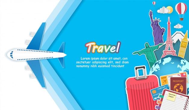 Accesorios de avión y equipaje viajan alrededor del mundo.