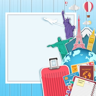 Accesorios de avión y equipaje de viaje