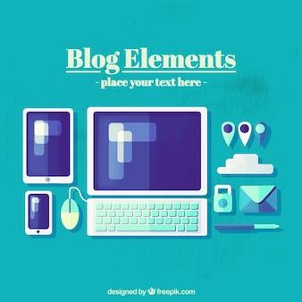 Accesorios de blog en diseño plano