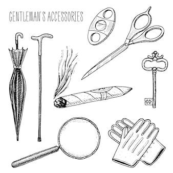 Accesorios de caballero. hipster o empresario, época victoriana.