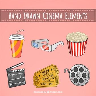 Accesorios carrete de cine y bosquejos