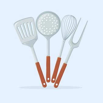 Accesorios de cocina aislados en azul
