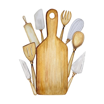 Accesorios de cocina de madera hechos a mano para hornear ilustración acuarela.