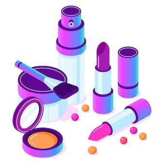Accesorios cosméticos maquillaje isométrico.