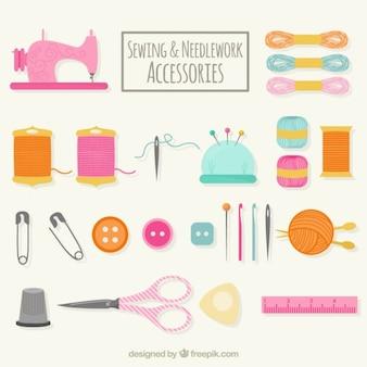 Accesorios de costura dibujados a mano