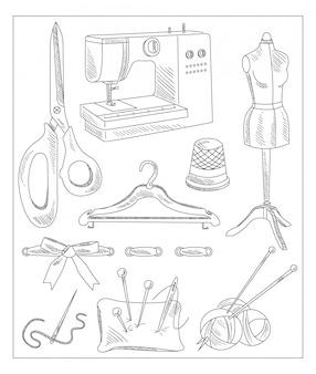 Accesorios de costura en estilo dibujado a mano