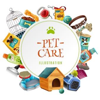 Accesorios para el cuidado de mascotas ilustración de marco redondo