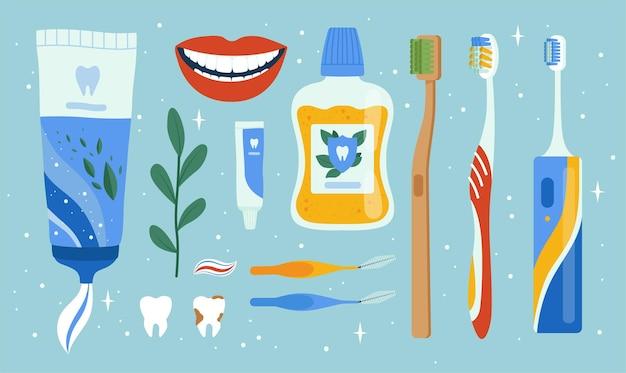 Accesorios de dentista. artículos de higiene dental oral cepillo de boca manzanas herramientas de limpieza conjunto de vectores de dientes. equipo de dentista médico para el cuidado y la ilustración limpia.