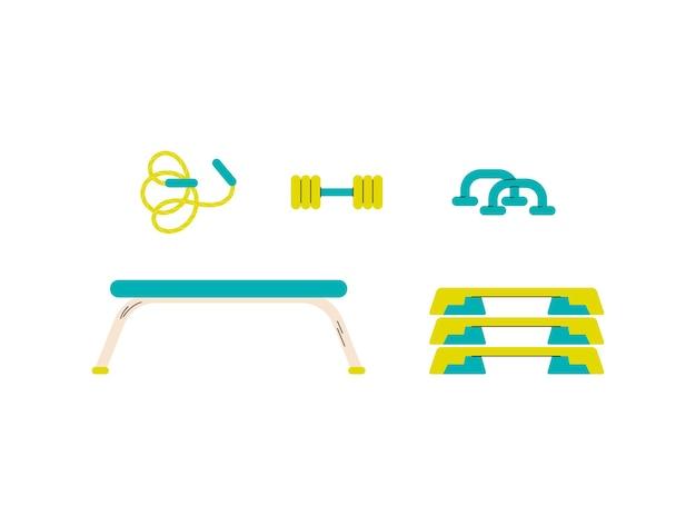 Accesorios para ejercicio físico fitness en gimnasio o en casa
