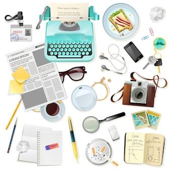 Accesorios de época para la máquina de escribir periodista escritor