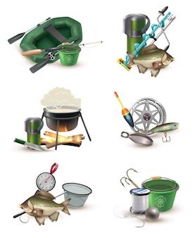 Accesorios de equipo de pesca 6 iconos conjunto