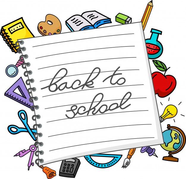 Accesorios escolares y libreta de notas
