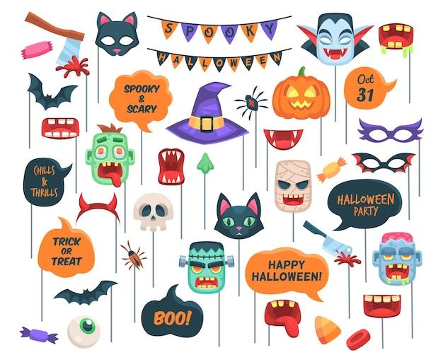 Accesorios de halloween. bocadillos de diálogo requeridos para cabina de fotos con texto, escalofríos y emociones, abucheo, truco o amenaza y símbolos de vacaciones sombrero de zombie y bruja, vampiro, calabaza y murciélago conjunto aislado de dibujos animados vectoriales