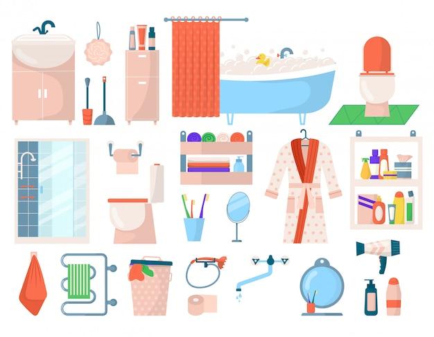 Accesorios de higiene de baño, elementos de spa de cuidado personal de baño en ilustraciones blancas. artículos de tocador, productos de baño higiénicos, jabón, botellas de champú, gel de ducha para iconos de cuidado corporal.