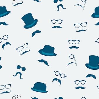 Los accesorios inconsútiles del garabato de los sombreros del bigote y los vidrios modelan el ejemplo del vector del fondo