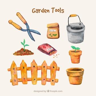 Accesorios de jardinería pintados a mano