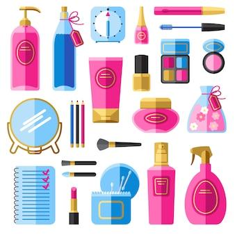 Accesorios de maquillaje para el cuidado del cabello y la cara.