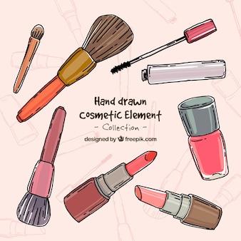 Accesorios de maquillaje dibujados a mano