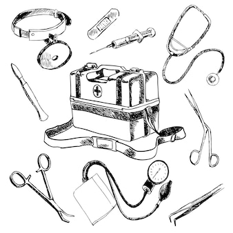Accesorios de médico médico conjunto de elementos de bosquejo