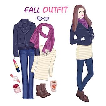Accesorios de moda y conjunto de personaje de mujer.