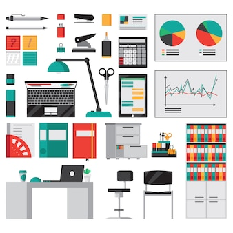 Accesorios de oficina y papelería iconos planos conjunto aislado