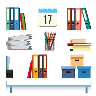 Accesorios de papelería en la ilustración de vector de mesa. carpetas con documentos, cajas contenedor, bolígrafos y lápices en taza y calendario.