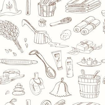 Accesorios de sauna doodle de patrones sin fisuras.