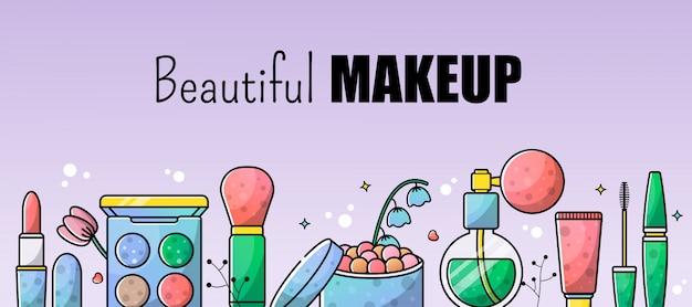 Accesorios set maquillaje ilustración telón de fondo