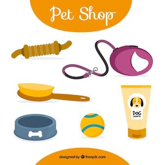 Accesorios de tienda de animales dibujados a mano