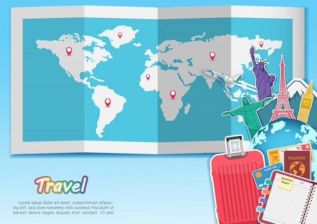 Los accesorios de viaje alrededor de la bandera aérea del avión de la bandera del verano del concepto del mundo entran con la señal famosa mundial superior.