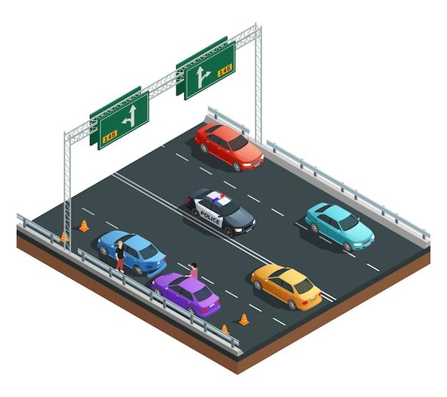 Accidente de auto que involucra la composición isométrica de dos autos en la ilustración de vector de fondo blanco