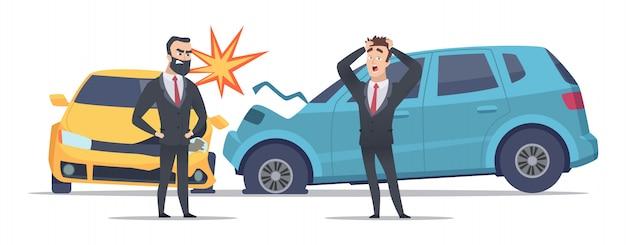Accidente automovilistico. autos dañados hombres asustados enojados. carácter de empresarios y coches estrellados.