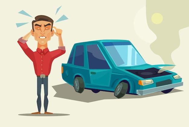 Accidente automovilistico. carácter de trabajador de oficina de hombre de negocios de víctima asustado llorando enojado.