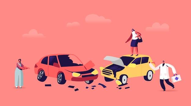 Accidente automovilístico en la carretera, conductores personajes femeninos que discuten de pie al lado de la carretera en automóviles accidentados y el médico se apresura a ayudar