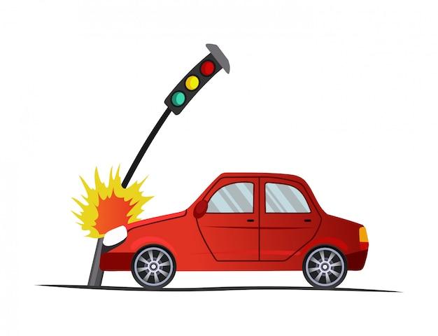 Accidente en carretera. el coche se encontró con un semáforo. ilustración del vehículo de choque, daño automático. caso de seguro auto roto de dibujos animados