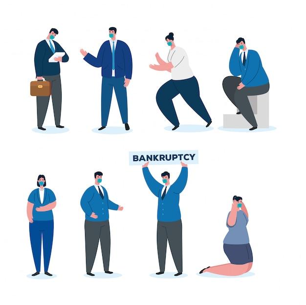 Accidente de coronavirus, colapso económico, empresarios grupales con máscara quirúrgica, concepto de bancarrota