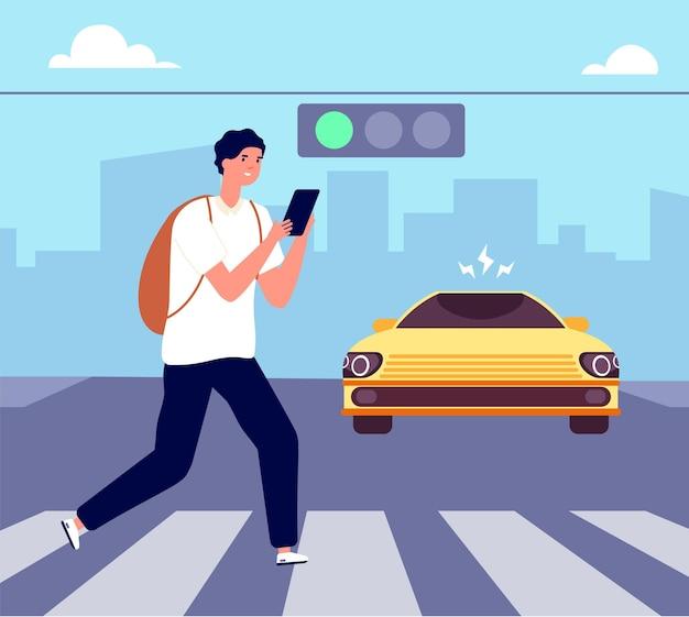 Accidente de cruce de peatones. paseo peatonal cruzando la calle, peligro de tráfico. hombre con teléfono inteligente viola las reglas de la carretera. ilustración de vector de atención. paso de peatones de accidentes, peligro de tráfico en la calle